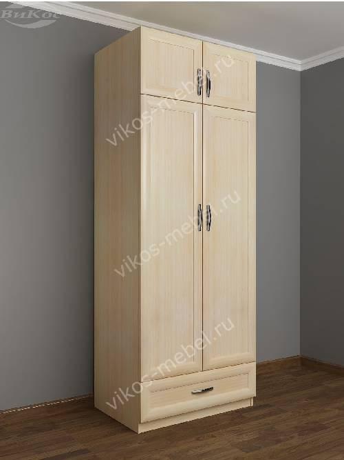 Двухстворчатый шкаф для одежды и белья в коридор с выдвижными ящиками цвета молочный беленый дуб
