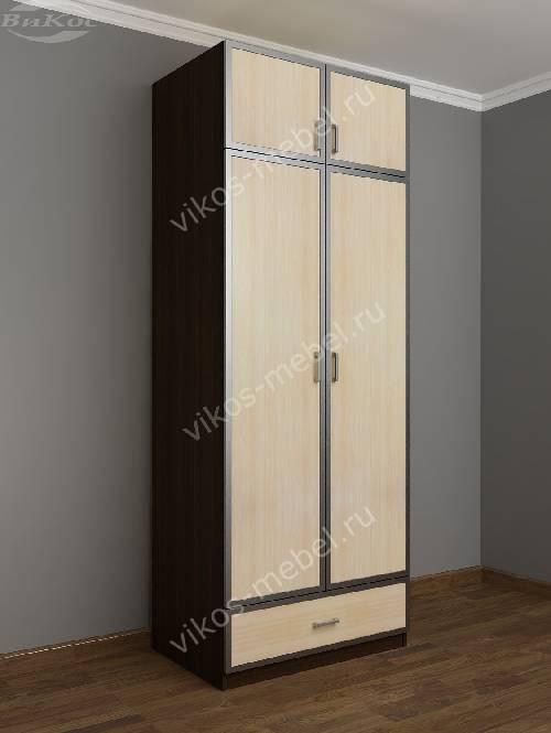 Двухстворчатый шкаф для одежды и белья в коридор с выдвижными ящиками цвета венге - молочный дуб
