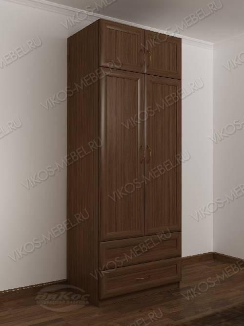 Двухдверный распашной шкаф классика с зеркальной дверью с ящ.