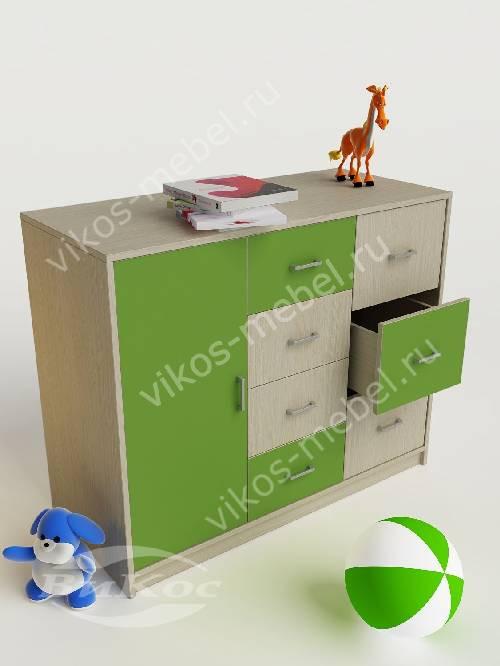 Тумба в детскую без колес с восемью ящиками зеленого цвета