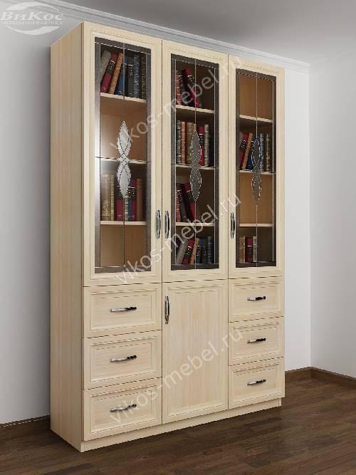 Витражный шкаф для книг с ящиками для мелочей шириной 120-135 см цвета молочный беленый дуб