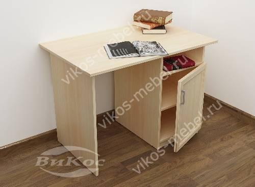 Малогабаритный письменный стол со шкафчиком цвета молочный беленый дуб