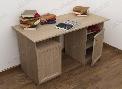 Широкий офисный стол со шкафчиком цвета шимо светлый