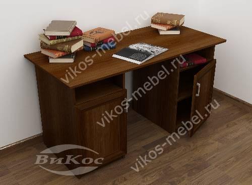 Широкий офисный стол со шкафчиком цвета яблоня