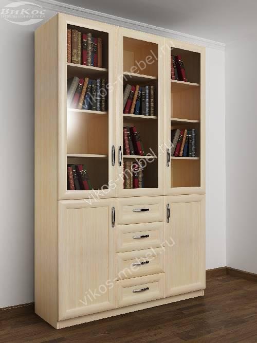 3-створчатый книжный шкаф со стеклом с ящиками цвета молочный беленый дуб