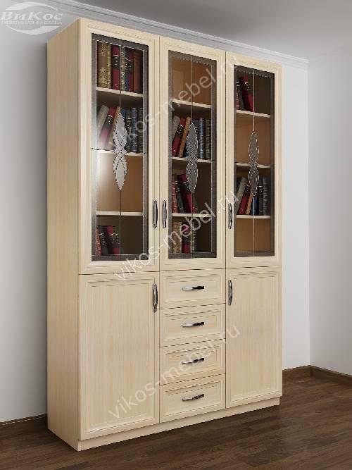3-створчатый книжный шкаф со стеклом с витражом с ящиками цвета молочный беленый дуб