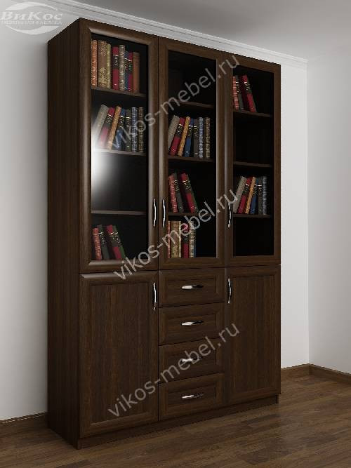 3-створчатый книжный шкаф со стеклом с ящиками цвета венге.