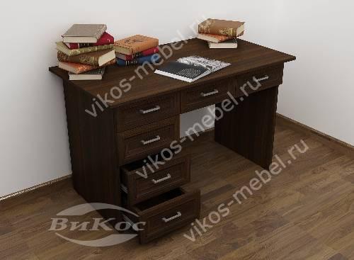 Маленький офисный стол с выдвижными ящиками цвета венге