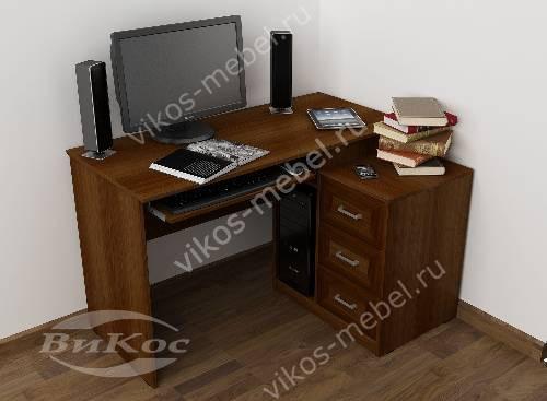 Широкий стол компьютерный с ящиками цвета яблоня