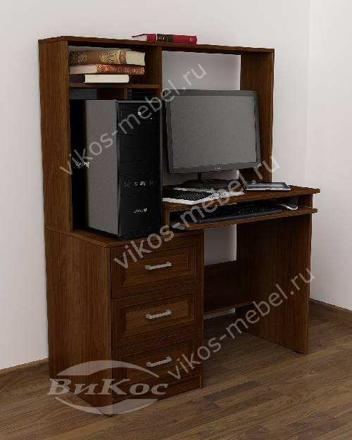 Маленький стол компьютерный с ящиками для мелочей цвета яблоня