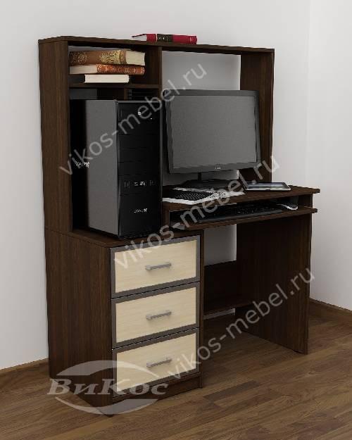Маленький стол компьютерный с ящиками для мелочей цвета венге - молочный дуб