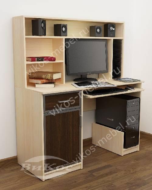 Большой компьютерный стол с выдвижными ящиками цвета беленый дуб - венге