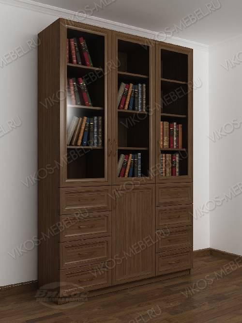 3-дверный книжный шкаф со стеклянными дверями с выдвижными я.