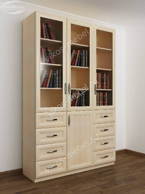 3-дверный книжный шкаф со стеклянными дверями с выдвижными ящиками цвета молочный беленый дуб