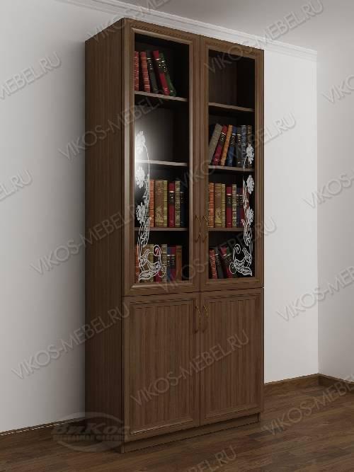 двухстворчатый книжный шкаф со стеклом с пескоструйным рисунком цвета шимо темный