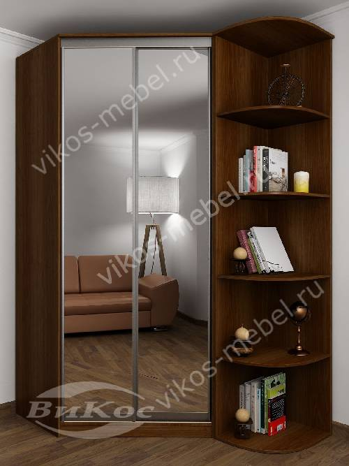 зеркальный 2 дверный угловой шкаф купе для одежды в спальню цвета яблоня