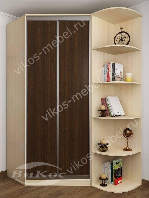 2 дверный угловой шкаф купе для одежды в спальню цвета беленый дуб