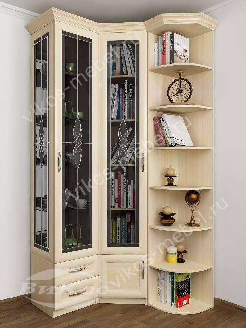 двухстворчатый шкаф угловой в гостиную с распашными дверями для книг C витражным стеклом цвета молочный беленый дуб
