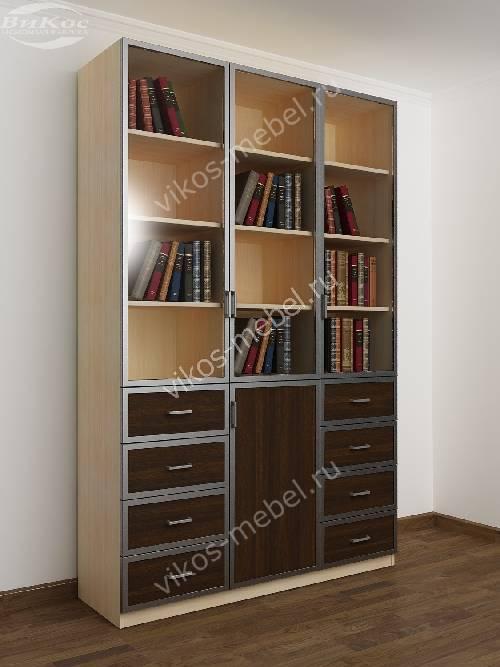 3 дверный книжный шкаф со стеклянными дверями с выдвижными ящиками цвета беленый дуб венге