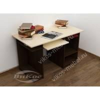 стол для компьютера с полками цвета венге - молочный дуб