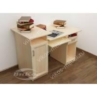 прямой компьютерный стол цвета молочный беленый дуб