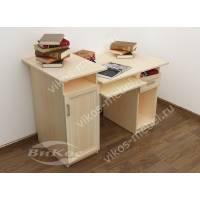 широкий компьютерный стол цвета молочный беленый дуб