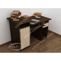 широкий компьютерный стол цвета венге - молочный дуб