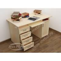 стол компьютерный с ящиками для мелочей цвета молочный беленый дуб