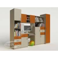 стенка в детскую со столом оранжевого цвета