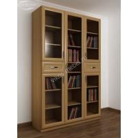книжный шкаф со стеклянными дверцами с ящиками для мелочей цвета бук