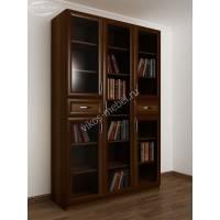 книжный шкаф со стеклянными дверцами с ящиками для мелочей цвета яблоня