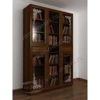 трехстворчатый книжный шкаф со стеклянными дверцами с пескоструйным рисунком