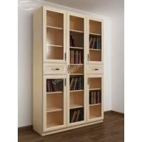 книжный шкаф со стеклянными дверцами с ящиками для мелочей цвета молочный беленый дуб