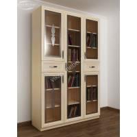 трехстворчатый книжный шкаф со стеклянными дверцами цвета молочный беленый дуб