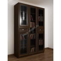 книжный шкаф со стеклянными дверцами с ящиками для мелочей c витражным стеклом