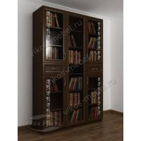 книжный шкаф со стеклянными дверцами с ящиками для мелочей с пескоструйным зеркалом
