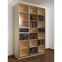книжный шкаф со стеклянными дверцами с ящиками для мелочей цвета беленый дуб - венге