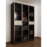 книжный шкаф со стеклянными дверцами с ящиками для мелочей цвета венге - молочный дуб