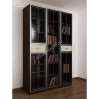 трехстворчатый книжный шкаф со стеклянными дверцами цвета венге - молочный дуб