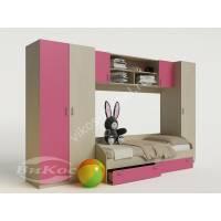 стенка для ребенка для девочки розового цвета
