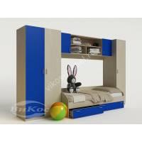стенка для ребенка с кроватью синего цвета