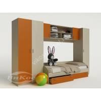стенка для ребенка с кроватью оранжевого цвета
