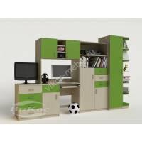 стенка в детскую со столом зеленого цвета