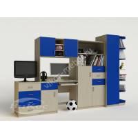 стенка в детскую со столом синего цвета