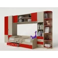 детская стенка с кроватью красного цвета