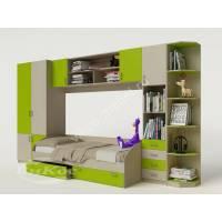 детская стенка с кроватью цвета зеленый лайм