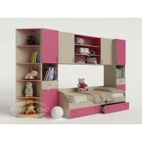 девчачая стенка для ребенка с кроватью