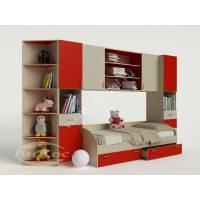 стенка для ребенка для девочки красного цвета
