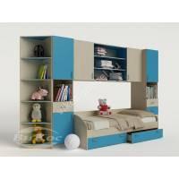 стенка для ребенка с кроватью цвета мармара голубой