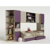стенка для ребенка с кроватью филетового цвета